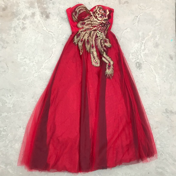 Dresses Formal Red Gown With Feathers Poshmark